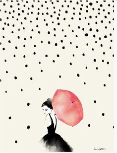 'Polka Dot Rain' art print by Karen Hofstetter. Four size options available, priced from $35 on society6 | Gallop Lifestyle