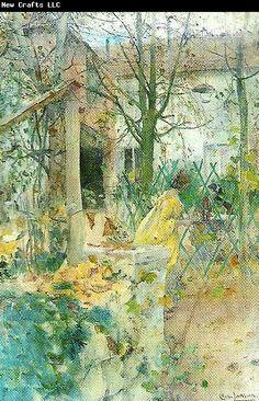 Carl Larsson ~ moter ~ akvarell 1889 se