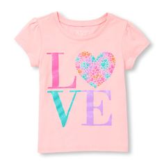 Toddler Girls Short Sleeve Glitter 'LOVE' Graphic Tee