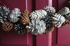 """painted pine cones, to make """"bokays"""" of for a center piece at a bridal shower. collors lime green, non painted pine cone and bright blue. Make hanging pine cone orements that are hung by ribbon that is alternate collor like dark brown or blue or white."""