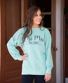 Phi Mu Comfort Color Sweatshirt by NowGreek on Etsy Phi Mu Shirts, Sorority Shirts, Phi Mu Letters, Phi Mu Crafts, Sorority Outfits, Alpha Phi, Tee Shirt Designs, Shirt Style, Delta Gamma