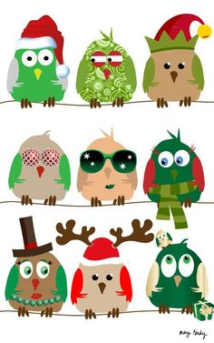 Christmas owls cute to print or paint and frame. Oh DL have you seen this?