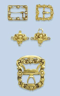 FOUR ANTIQUE DUTCH GOLD BUCKLES   One buckle decorated with flowers and a mask; a small filigree decorated buckle; a small scroll decorated buckle and a hook and eye clasp  The largest buckle Amsterdam, Johannes van Leuven, 1758