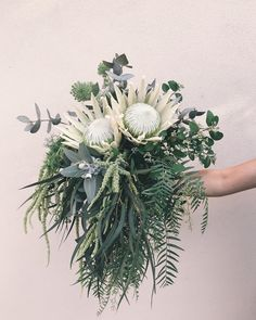 perhaps a little too wild/too much greenery, but i like the asymmetry and two proteas. Greenery, Poppies, Vines, Wedding Flowers, Bouquet, Bridal, Plants, Instagram, Flowers