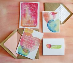 Watercolor Wedding Invitations Ready Made by TyingTheKnots