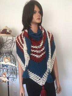 Hand Knits 2 Love Shawl Triangle American Flag Vintage Mood Designer Fashion  | eBay