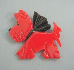 Vintage RED Bakelite Scottie Dog Pin