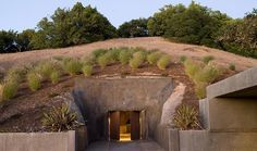 Entrance to wine cave in a home designed by Conrad Sanchez