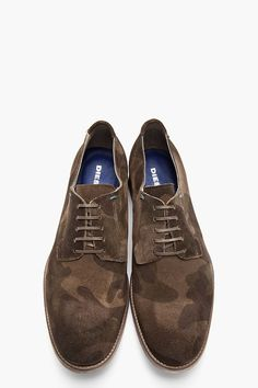 DIESEL Olive Green Camo Print Suede Iridium Shoes