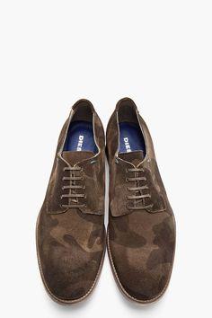 DIESEL Olive Green Camo Print Suede Iridium Shoes
