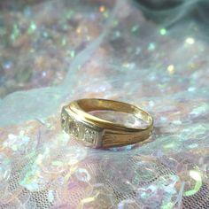 Vintage Mens Wedding Ring Gold Ring Diamond Ring by AbetArt4U