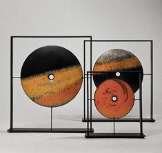 Suzy Balkert Abstract Sculpture, Abstract Wall Art, Sculpture Art, Art En Acier, Art Pierre, Art Japonais, Raku Pottery, Steel Art, Op Art