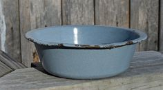 Blue/Gray Enameled Graniteware Bowl Blue/Gray Metal by WVpickin