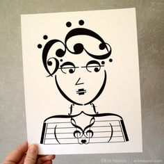 Beatnik Chick Music Note Art Print, available in 5x7, 8x10, and 11x14