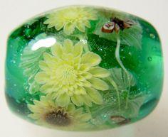 Sunflower & Cicada Satake Glass Lampwork Round by AyakoGlassGarden, ¥5700