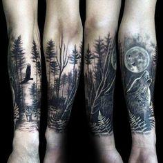 - 100 forest tattoo designs for men - masculine tree ink ideas - tattoo leg . - 100 forest tattoo designs for men – masculine tree ink ideas – tattoo leg – Wolf Tattoos, Tattoos Masculinas, Ink Tattoo, Elephant Tattoos, Trendy Tattoos, Tattoo Fonts, Tattoos For Guys, Tattoo Tree, Tattoo Hip