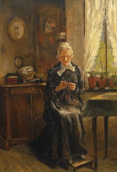 << elderly woman sitting beside a window with her knitting