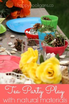 Pretend Tea Party with Natural Items