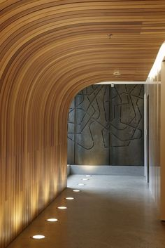 wood ceiling, curved, up-lighting