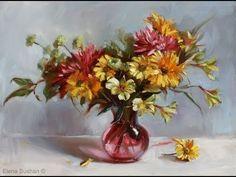 Dessin et peinture - vidéo 1296 : Quand les couleurs d'un bouquet de fleurs s'expriment pleinement dans une peinture à l'huile.