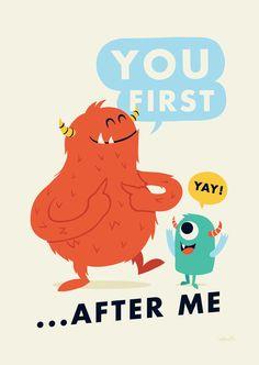 Manners by Greg Abbott Cartoon Monsters, Cute Monsters, Cute Monster Illustration, Illustration Art, Kids Prints, Art Prints, Character Art, Character Design, Greg Abbott