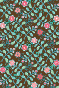 pink floral, chocolate background, blue green leaves
