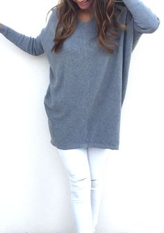 cdb48f310dc Women V-Neck Long Sleeve Thin Loose Sweater
