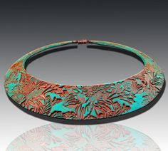 Turquoise and copper polymer clay bib necklace
