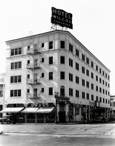 The Wilcox Hotel and Drug Store, located at 6500 Selma Avenue on the southwest corner of Wilcox Avenue (ca. 1942) Multi Story Building, Hollywood, Drug Store, Corner, Vintage, Vintage Comics