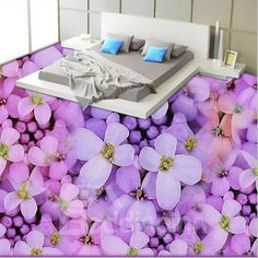 3d Wall Murals, Floor Murals, Floor Art, 3d Floor Painting, Pvc Flooring, Kids Bedroom Designs, Waterproof Flooring, Painted Floors, Purple Flowers