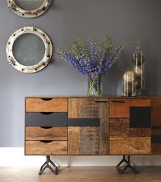 Shop Our Rustic Reclaimed Wood Bina Gonzo Console-Credenza on Sale. An eye-catching Reclaimed Wood Patchwork Console floats over three Y-shaped, distressed iron legs Upcycled Furniture, Home Furniture, Furniture Design, Office Furniture, Sustainable Furniture, Furniture Collection, Joss And Main, Home Accents, Decoration