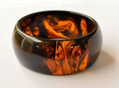 Amber Black Resin Bangle Resin Jewelry  Limited by LudditeMade