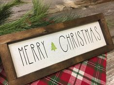 Enjoy one of our Farmhouse Christmas inspired signs this holiday season. Adorn your home with a simple yet fun design to greet your guest this Christmas. Merry Christmas sign measures approximately 5.5 x 16 . Expertly hand crafted from ply board and pine wood frame. Hand painted