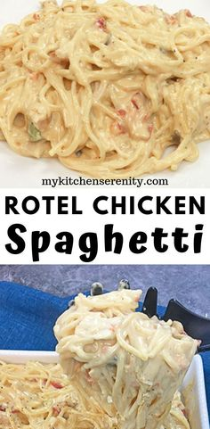 Easy Rotel Chicken Spaghetti Creamy chicken spaghetti made with rotisserie chicken, Rotel tomatoes, Velveeta Cheese, and cream of mushroom and cream of chicken soups. This easy chicken spaghetti recipe is ready in 30 minutes. This is serious comfort food! Huhn Spaghetti, Rotel Chicken Spaghetti, Sauce Spaghetti, Chicken Spaghetti Recipe Crockpot, Healthy Chicken Spaghetti, Creamy Spaghetti, Easy Chicken Casserole, Creamy Chicken Spaghetti Recipe, Cream Cheese Spaghetti