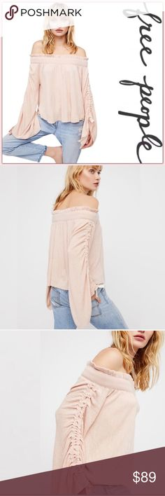 NWT Free People Cashmere Blend Sweater ➖NWT ➖BRAND: Free People ➖SIZE: XS ➖STYLE: Cherry Blossom Cashmere Blend Sweater Top : Flowy ribbed blush top featured in a super soft lightweight fabric. Features an off the shoulder silhouette. The top has bell ruffle sleeve with ruched detailing.  ➖MATERIAL: 4% Cashmere : 3% Spandex : 24% Polyester : 31% Nylon : 38% Viscose   ❌ NO TRADE  Entropycat Free People Sweaters