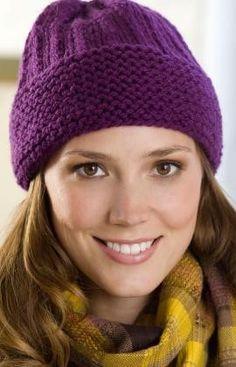 Easy Cuffed Hat Knitting Pattern.
