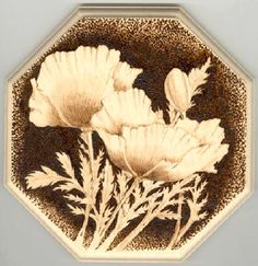 Museum of england pyrography   Pyrography on sycamore plaque, approx. 6 in. across