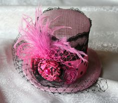 Pink and Black mini top hat