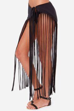 fringe cover up   RVCA Mansuria Black Fringe Cover-Up Skirt at LuLus.com!