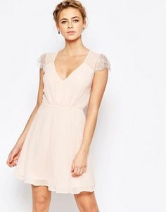 Elise Ryan Lace Mini Skater Dress
