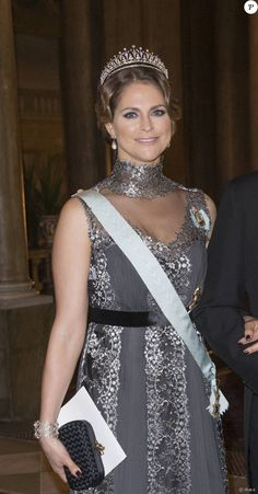 Members of the Swedish Royal Family attended a dinner for the 2015 Nobel Laureates hosted by the King and Queen 11 December 2015 |