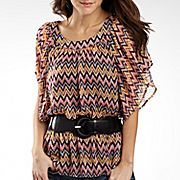 Fang® Peasant Top, Belted Short Sleeve