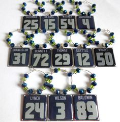 Seattle Seahawks Wine Charm Set of 12 by TaylenandKatie on Etsy