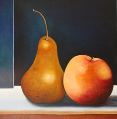 Courtship of Apple and Pear, oil on canvas. These two make such a pretty pair.