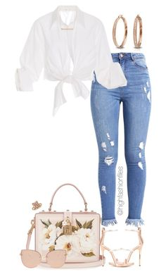 """""""Untitled #2769"""" by highfashionfiles on Polyvore featuring Dolce&Gabbana, Johanna Ortiz, Giuseppe Zanotti, Bling Jewelry, Monique Péan, Blue Nile and Topshop"""