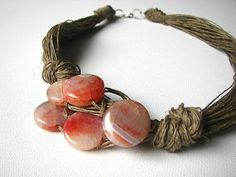 Pink Agate-big linen necklace by GreyHeartOfStone on Etsy