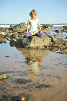 Winner week 74 is Eve Grzybowski : Lotus on the Rocks at Saltwater Beach » Yoga Pose Weekly