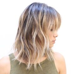 Long Bronde Bob With Bangs