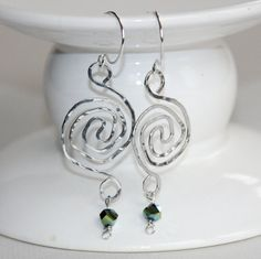 Labyrinth Wire Earrings with green accent by CraftedLocally. #handmade #earrings
