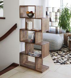 Zig Zag Book Shelf cum Display Unit in Natural Polish by Wood ...